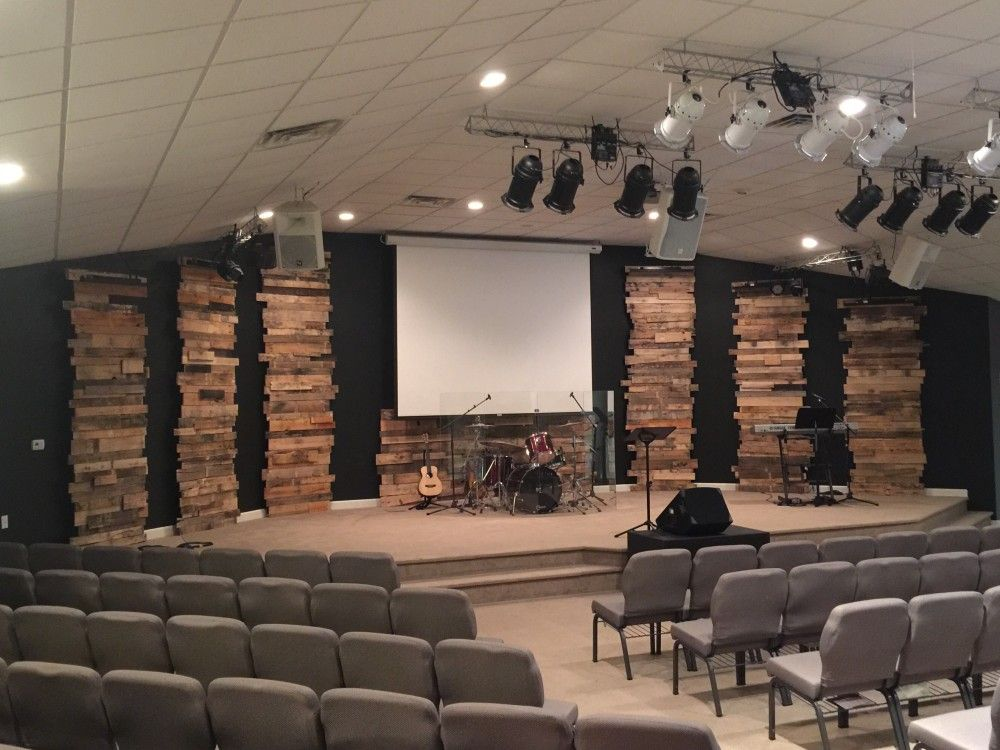leaning towers of pallets from forest park church in elizabeth city nc church stage