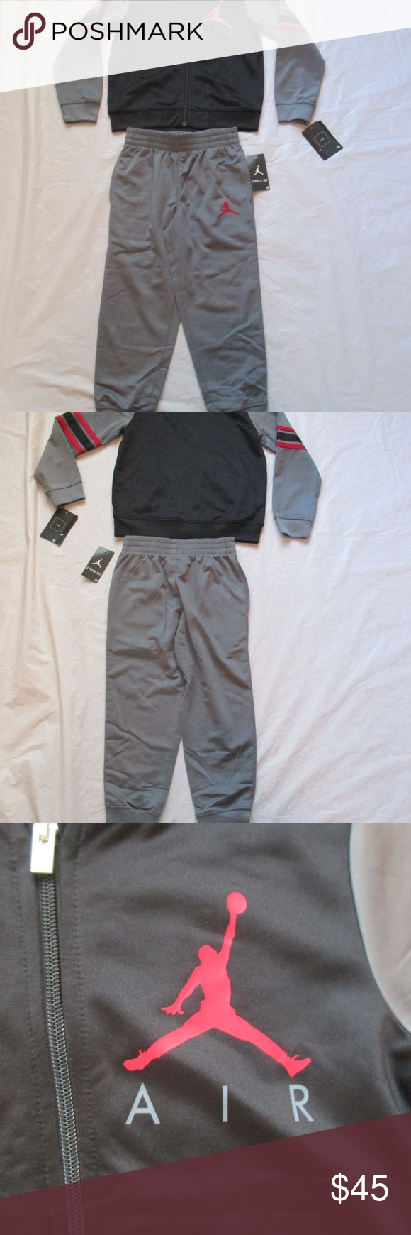 74563e62b59771 Nike Air Jordan Tracksuit 2 Piece Grey 854896-k26 Nike Air Jordan Boys Tracksuit  2 Piece Set Color Grey 854896-k26 Size 5 (4-5 Years) 104-110 cm ...