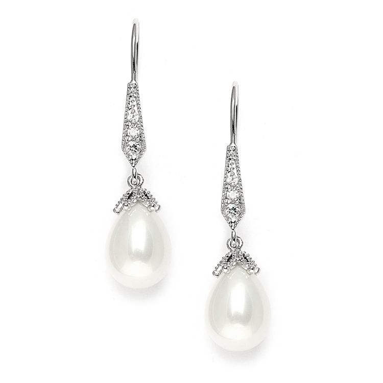 Vintage French Wire Earrings with Pearl Teardrops & Cubic Zirconia Pavé - Item No: 3777E