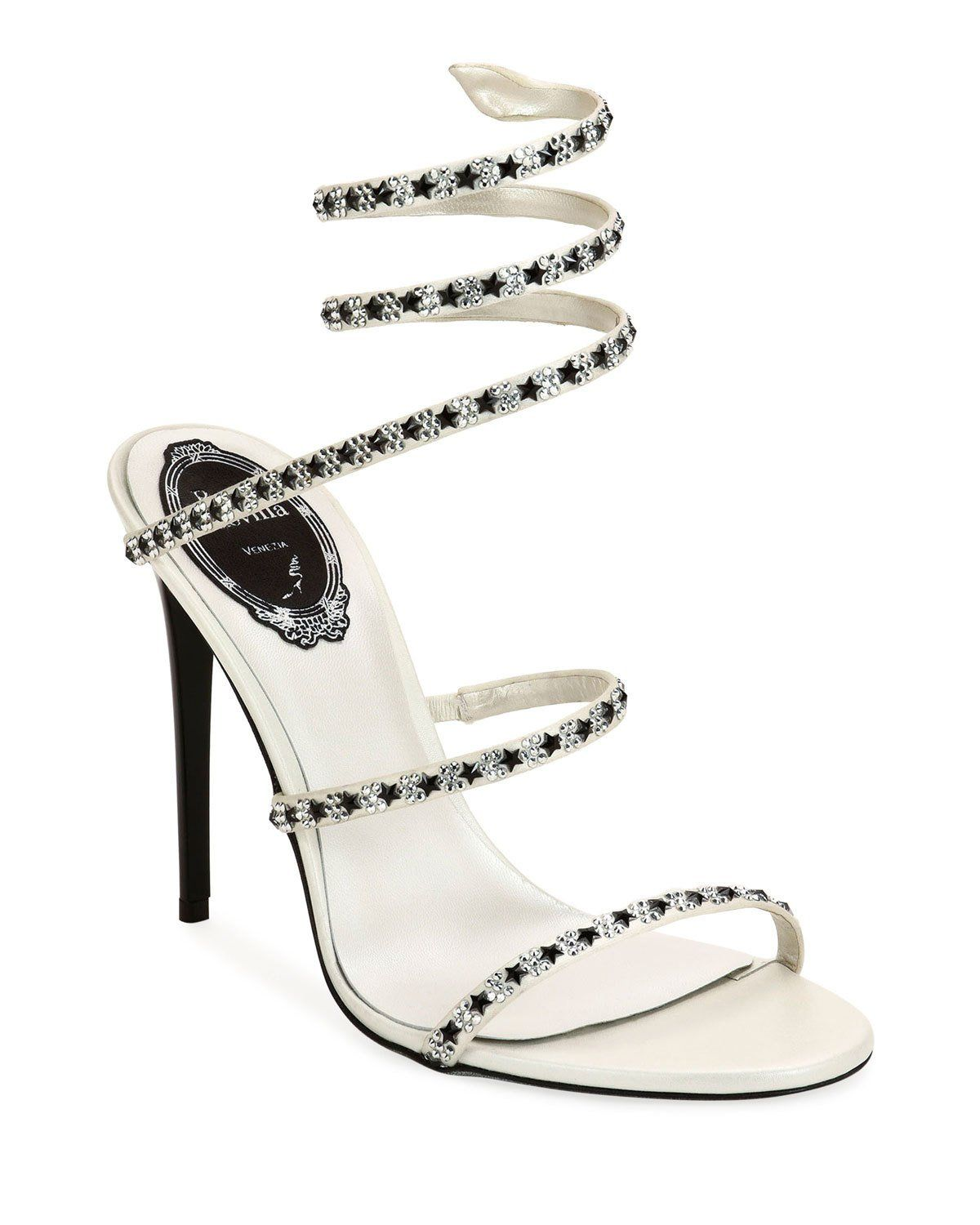 4fbbddd7b3 Rene Caovilla 105mm Snake-Ankle Sandals with Stars in 2019 | Shoes ...