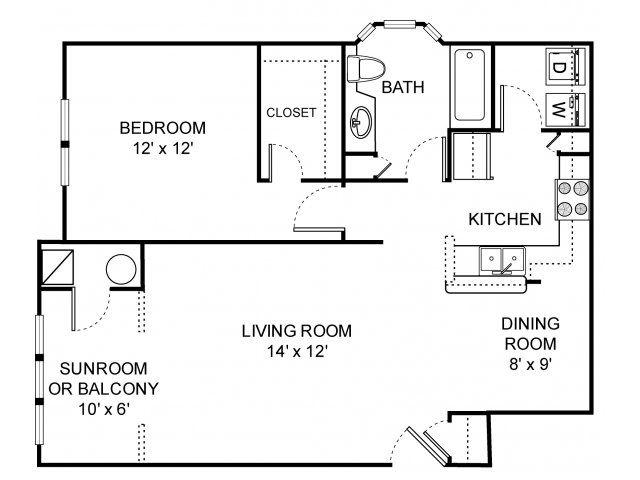 2d Floor Plan Image 1 For The 1 Bedroom 1 Bathroom 750 Sq Ft