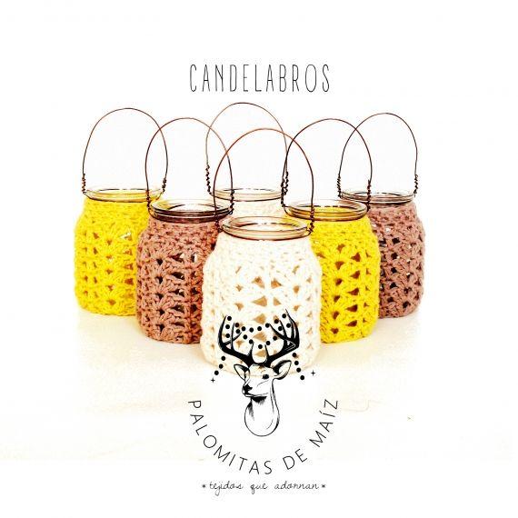 Mirá que lindos estos candelabros abrigados con funda a crochet ...