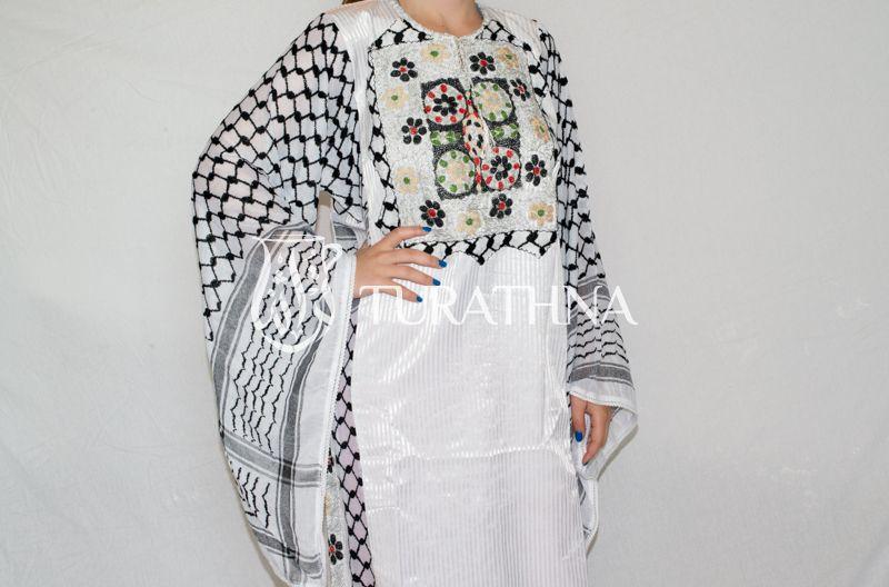 Contemporary : Thoub (Medium) Palestinian Koufieh sleeves and Saya fabric Dress