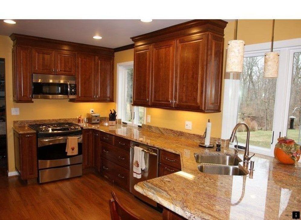 Amazing Kitchen Color Scheme Ideas For Dark Cabinets 09 Kitchen Cabinets And Countertops Kitchen Colour Schemes Cherry Cabinets Kitchen