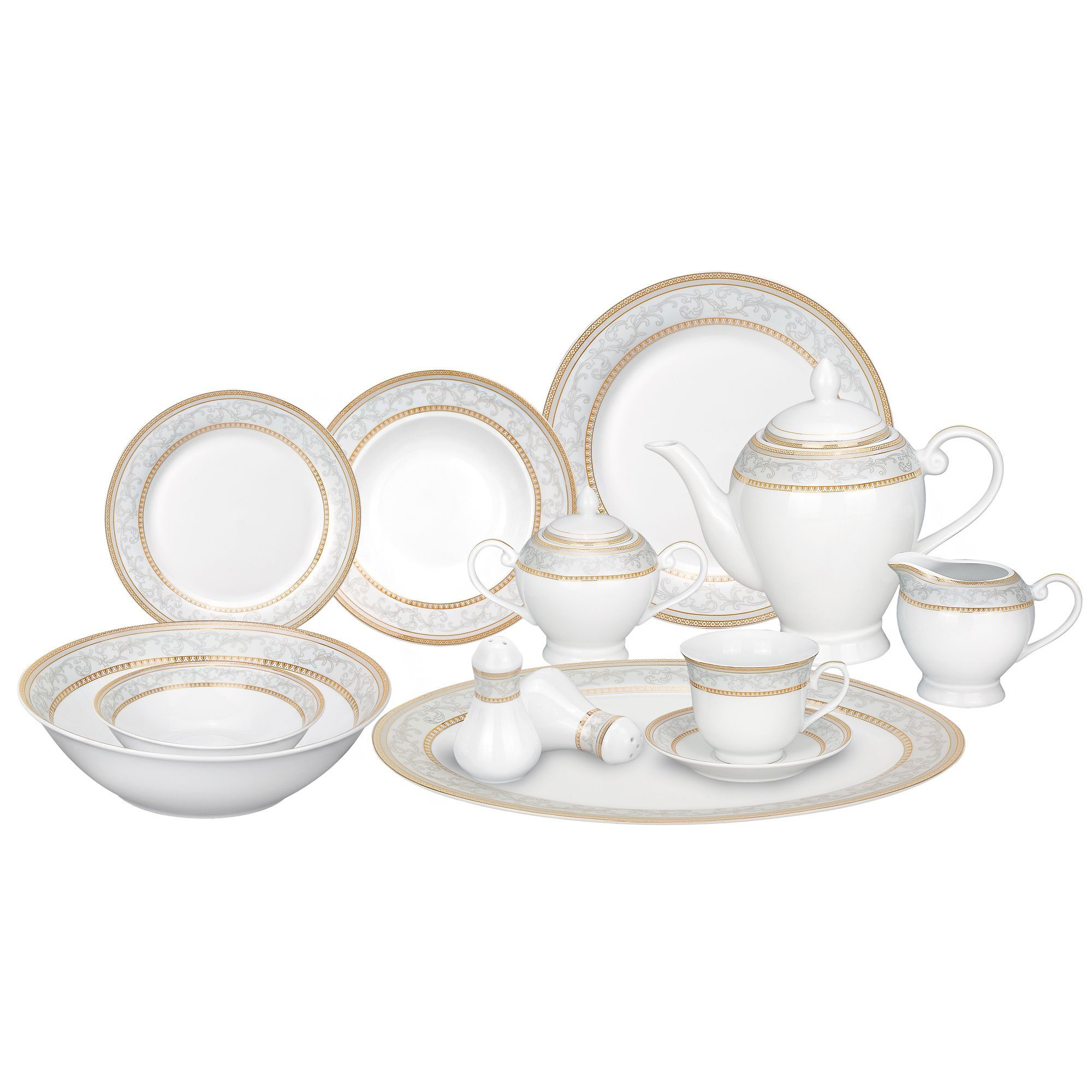 Lorenzo Import Alina-GD 57 Piece Porcelain Dinnerware Set Service for 8 by Lorren Home Trends As Shown  sc 1 st  Pinterest & Elegant and attractive with a classic gold accent scroll border the ...