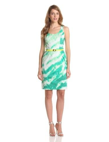 Vince Camuto Women's Structured Dress With Racerback, Green Feline, 10 - Night Out & Cocktail