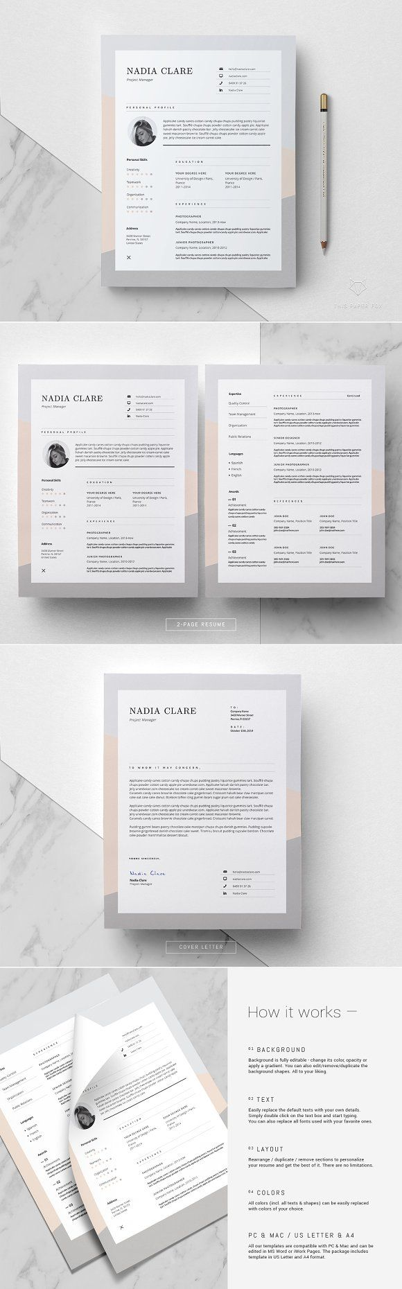 Editorial Resume Design / Nadia by This Paper Fox on @creativemarket ...