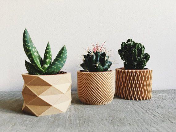 set de 3 mini pots cache pots imprim s en bois design. Black Bedroom Furniture Sets. Home Design Ideas