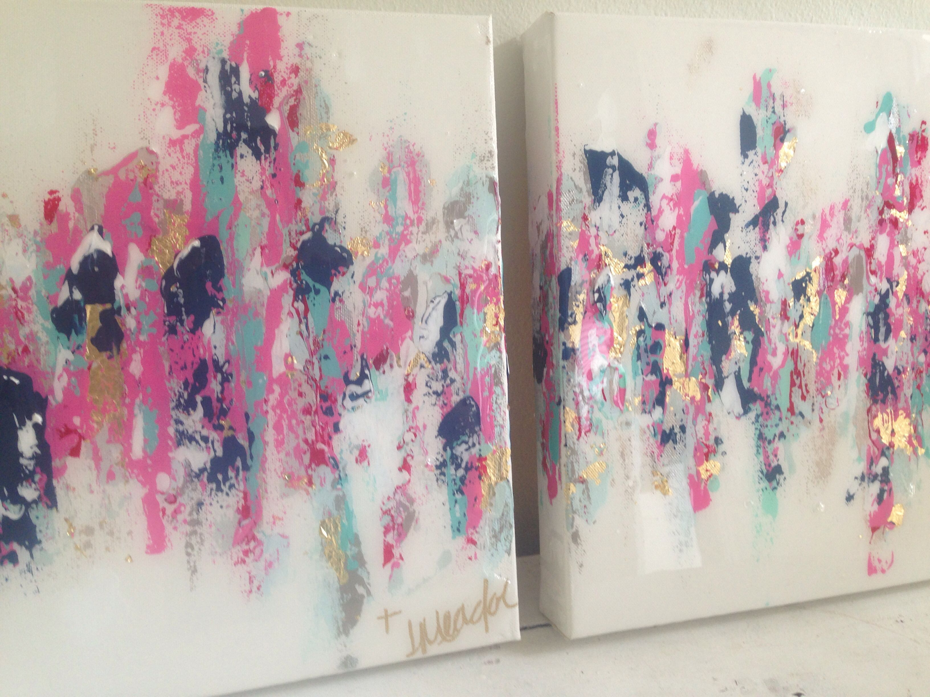"""Pink Abstract Canvas Art: Abstract Art. Hot Pink, Navy, Gold. 10""""x10"""" Set $150. By"""