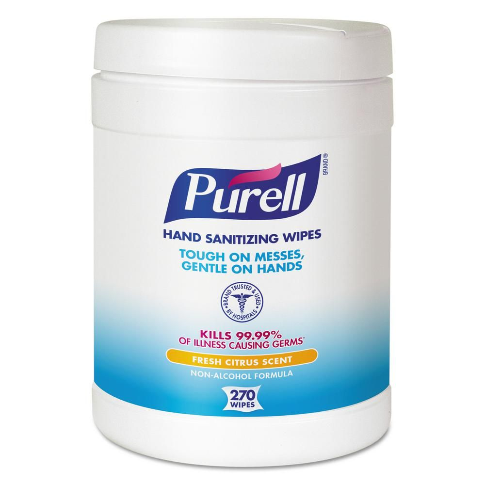 Purell 6 In X 6 3 4 In White Sanitizing Hand Wipes 270 Canister
