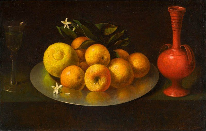Still Life with Glass, Fruit, and Jar, Circle of Francisco de Zurbarán, circa 1650, Purchased with funds from the North Carolina State Art Society (Robert F. Phifer Bequest)