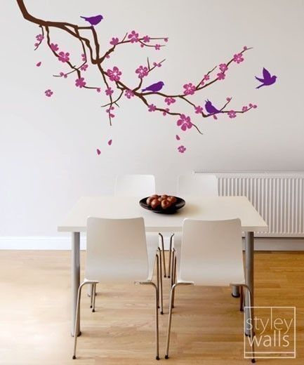 1 52 Cm Cherry Blossom Wall Decals Branch And Birds Flower Vinyl Wall Decal Tree Home Decor