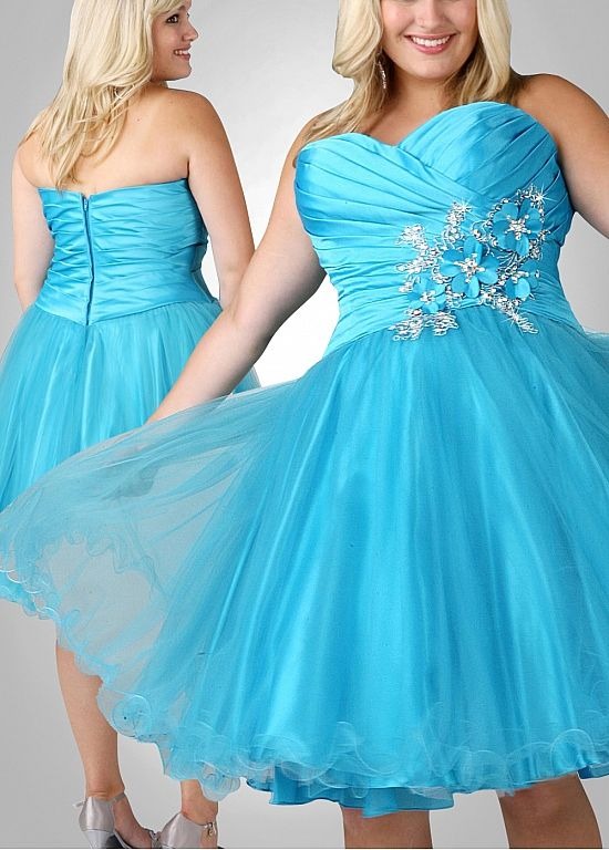 03b995e5793 Cute Satin   Tulle A-line Strapless Sweetheart Neckline Natural Waist Knee  Length Plus Size Prom Dress