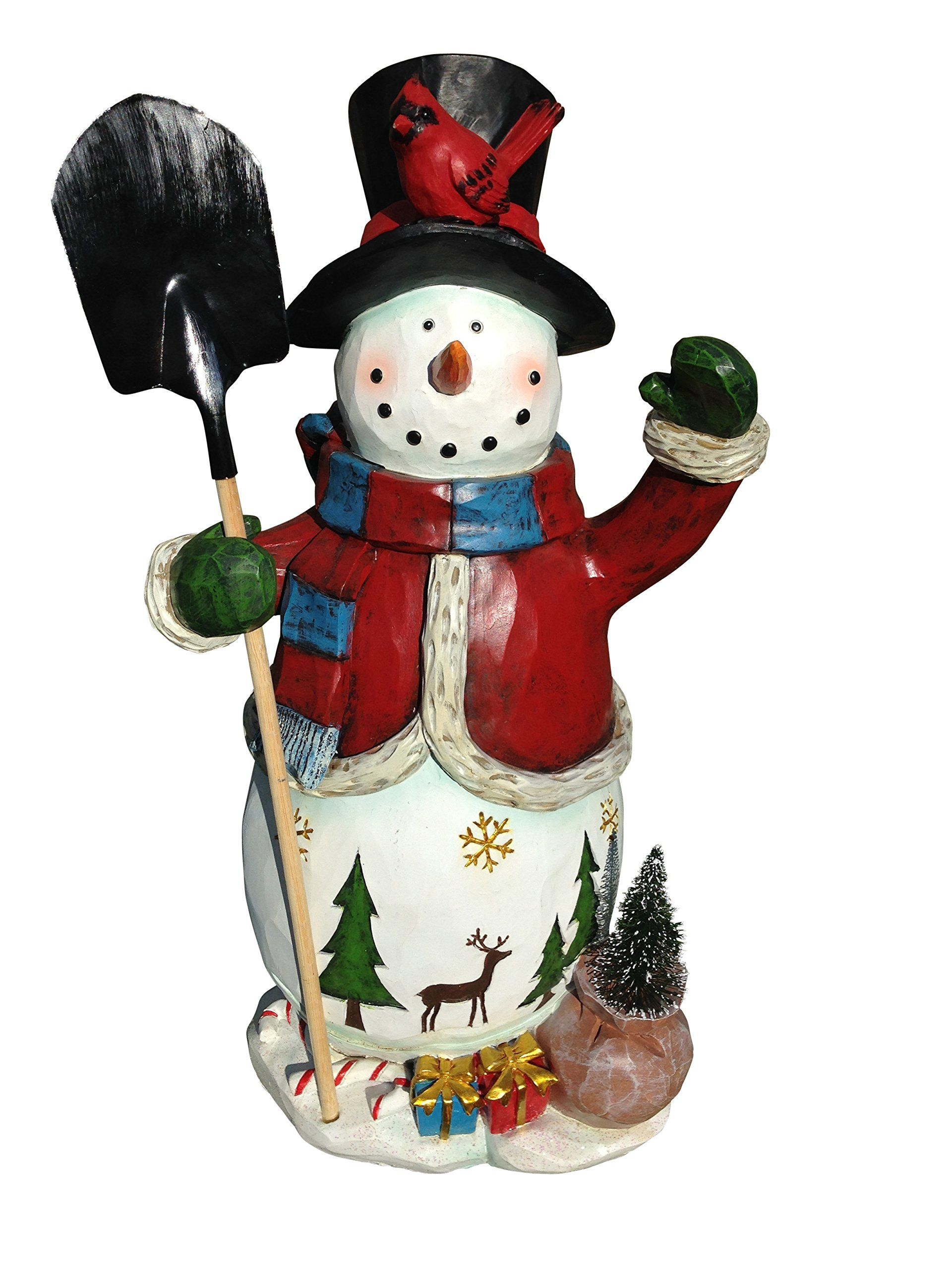 Festive Snowman Holiday Sculpture 20 Tall Poly Resin Christmas Snowman A Festive And Whimsical H Holiday Snowmen Hand Painted Decor Holiday Decor Christmas