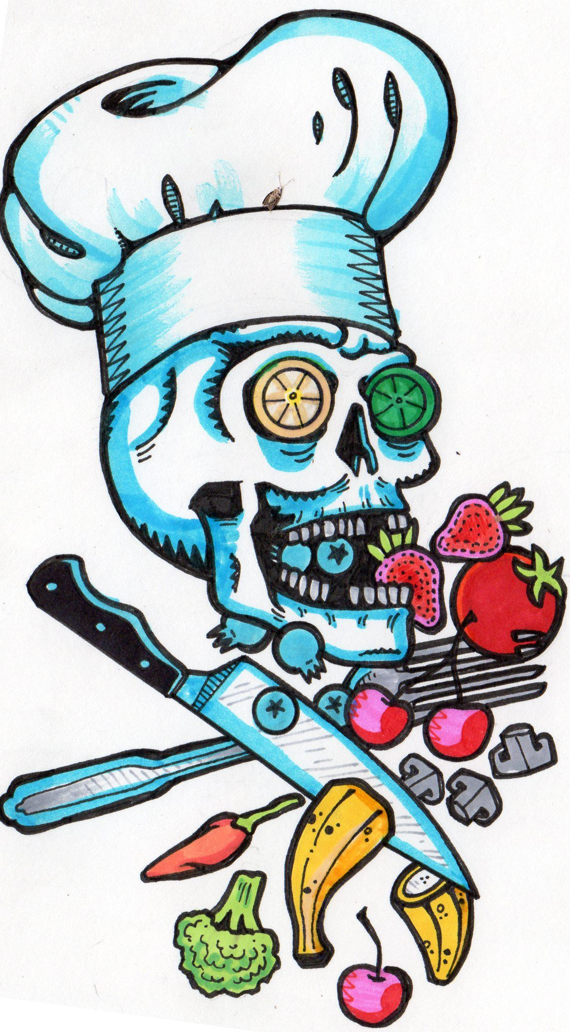 Chef Skull (color) by Tyler Lewis-Goshen | Commissioned Art ...