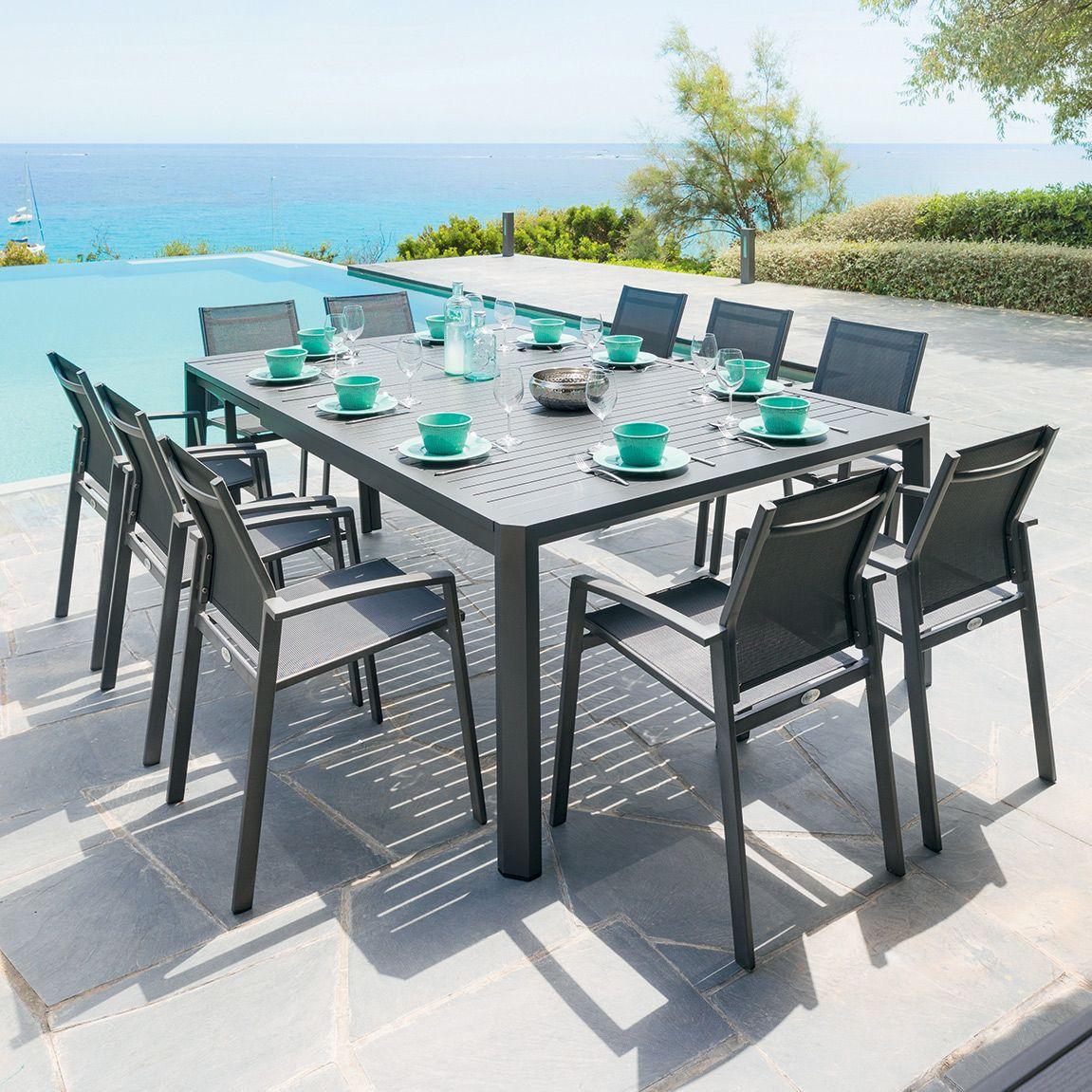 Table De Jardin Extensible Aluminium Seville Gris Graphite