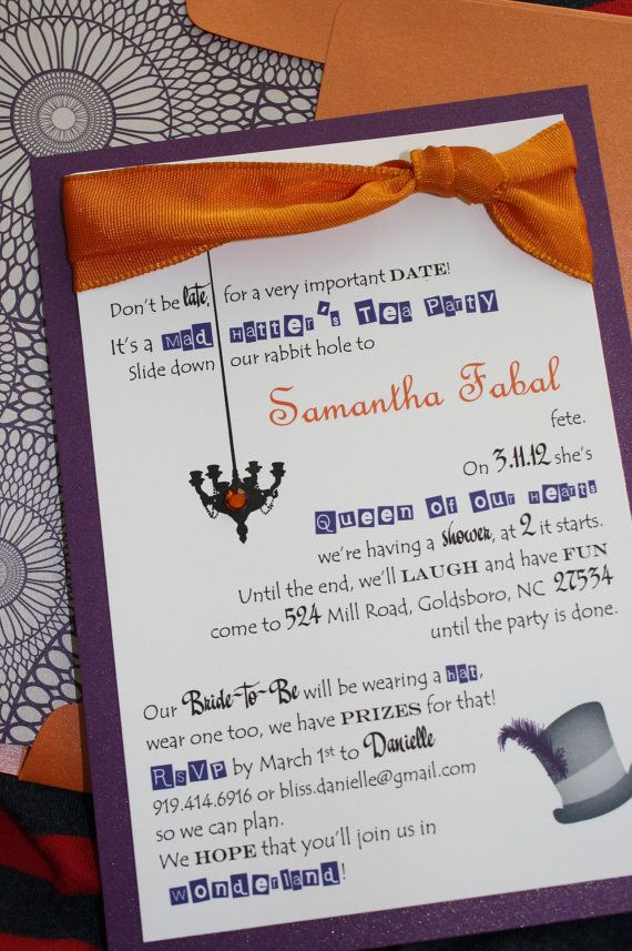 mad hatter teparty invitations pinterest%0A Purple and Orange Mad Hatter Bridal Shower Invitations