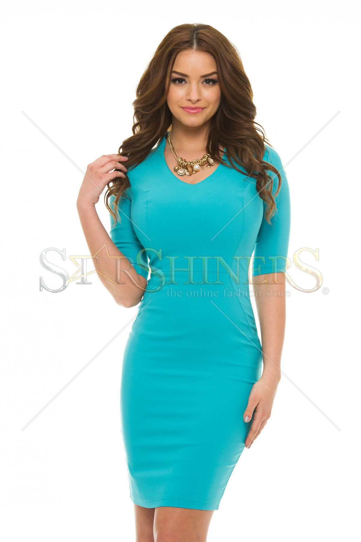 Artista Casual Chic Turquoise Dress Short Sleeves Outfits Vestidos Dresses Colourful Outfits [ 1800 x 1200 Pixel ]