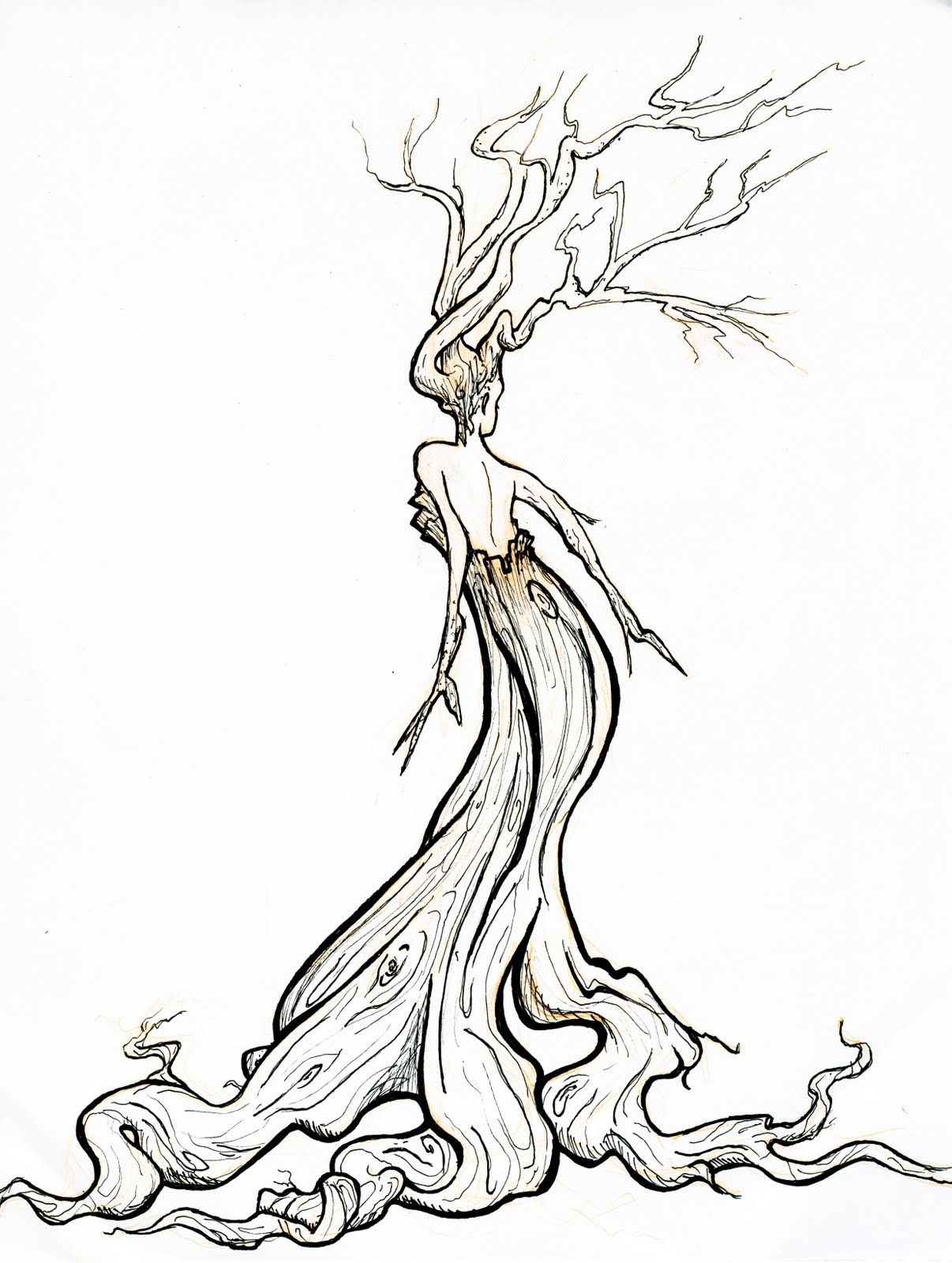 Pix for twisted tree clipart line drawings pinterest for A decoration that is twisted intertwined or curled