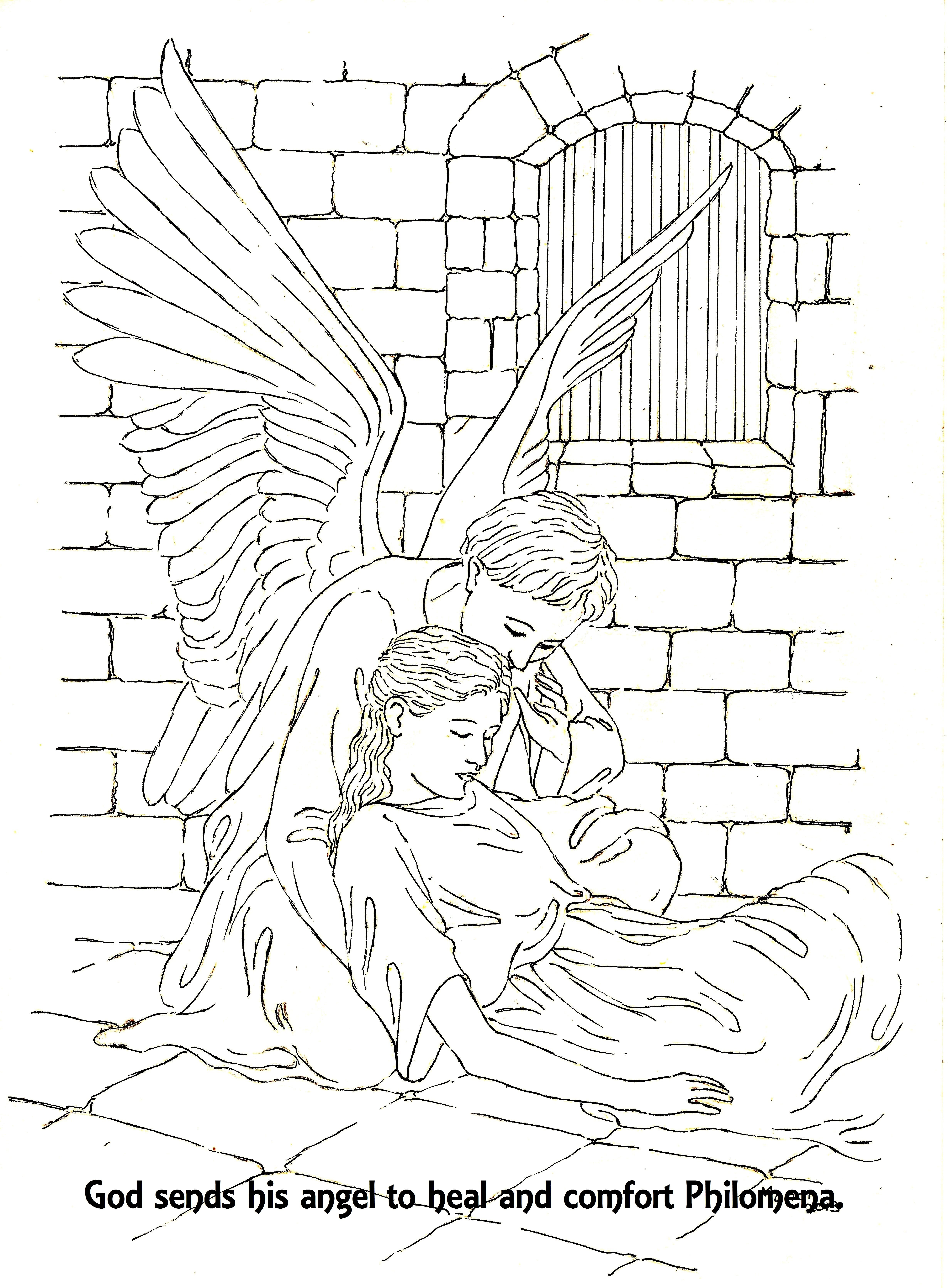 St Philomena A Picture To Colour An Angel Comforts Philomena