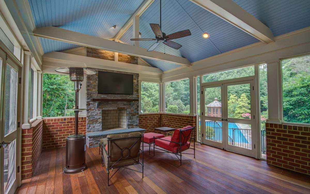Screened in porch with half brick walls vaulted blue for Half vaulted ceiling with beams