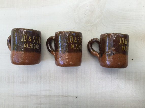 50 Mini Party Favor Mexican Pottery Mug Tequila Shot Glass 11