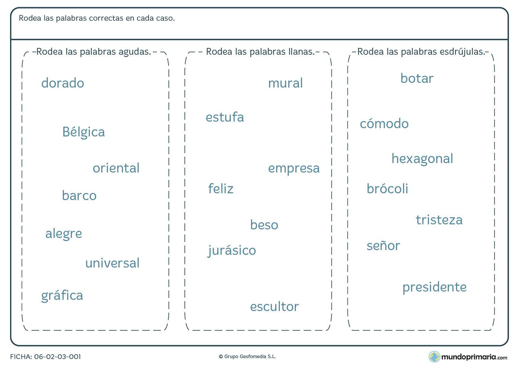 Comprobar Palabras Agudas Llanas Esdrújulas Resultado De Imagen De Practicas De Clasificacion Acento Prosodico