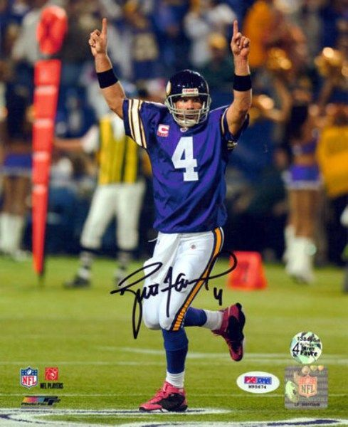 221fd47c0 This is an 8x10 photo that has been hand signed by Brett Favre. It comes  with the tamper-proof PSA DNA sticker and matching certificate for  authentication.