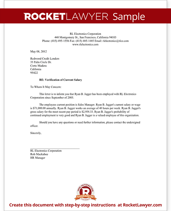Salary Verification Letter (Template With Sample