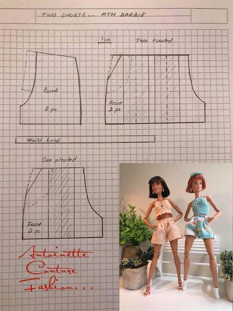 Fashion Dolls Couture - Ilimitado: Dos pantalones cortos plisados diferentes - Barbie hecha para moverse #dollscouture