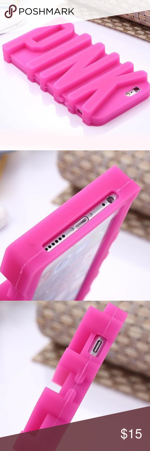 💖PINK 3D iPhone Case⭐ 🎀⭐ 3D PINK Letter Soft Silicone Case ...