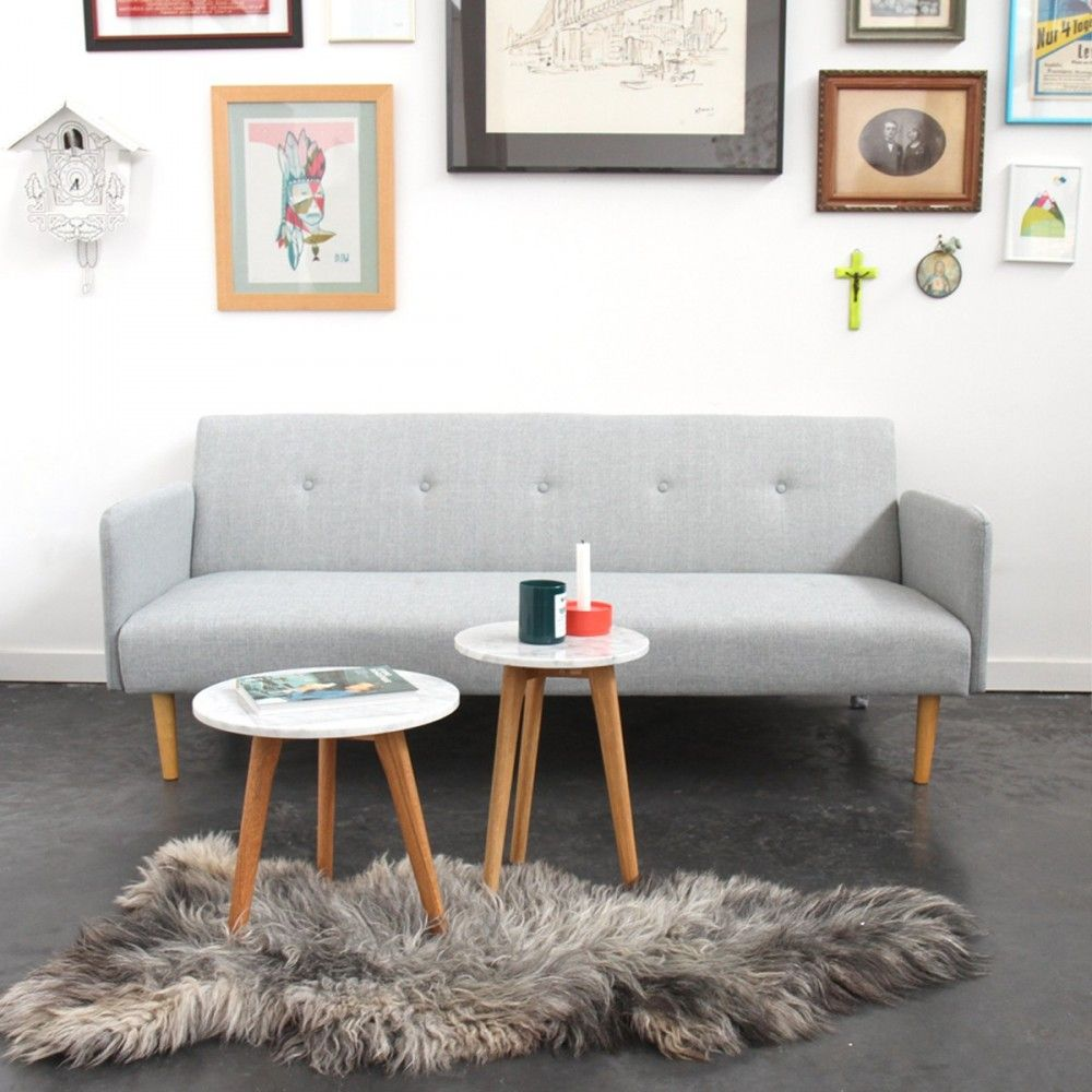 Table basse ronde bois et marbre L Zuiver - WHITE STONE ...