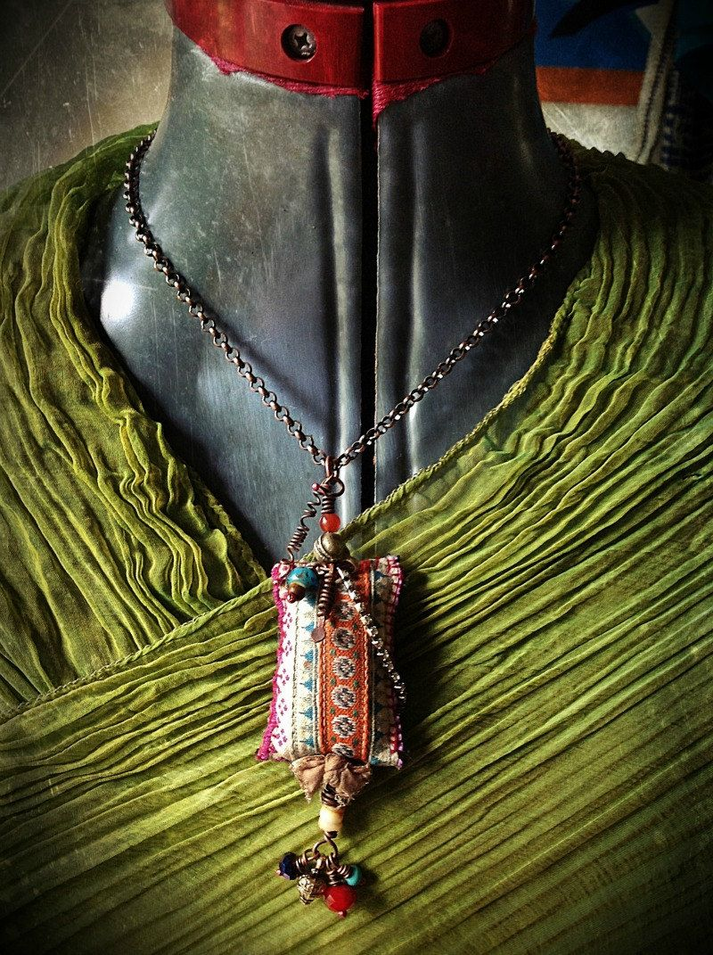 Bohemian gypsy vintage hmong textile necklace with bead charms