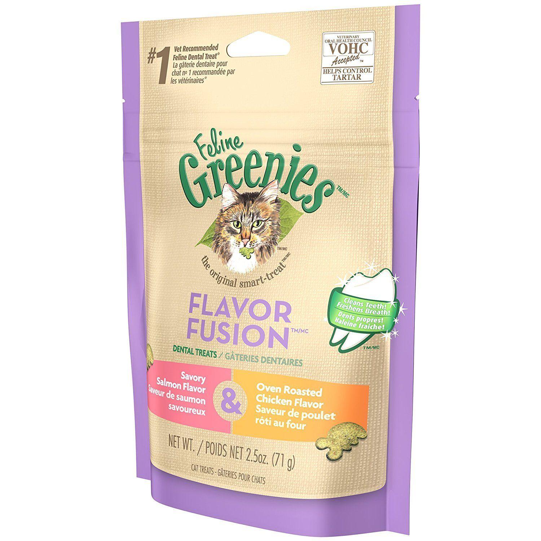 Feline greenies dental cat treats chicken and salmon 5 oz