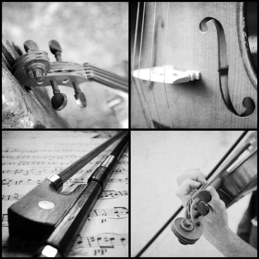 Empty room with chair violin and sheet music on floor photograph - Violin Wall Art Black And White Violin Photography Collage Set Of 4 Music Art Music Room