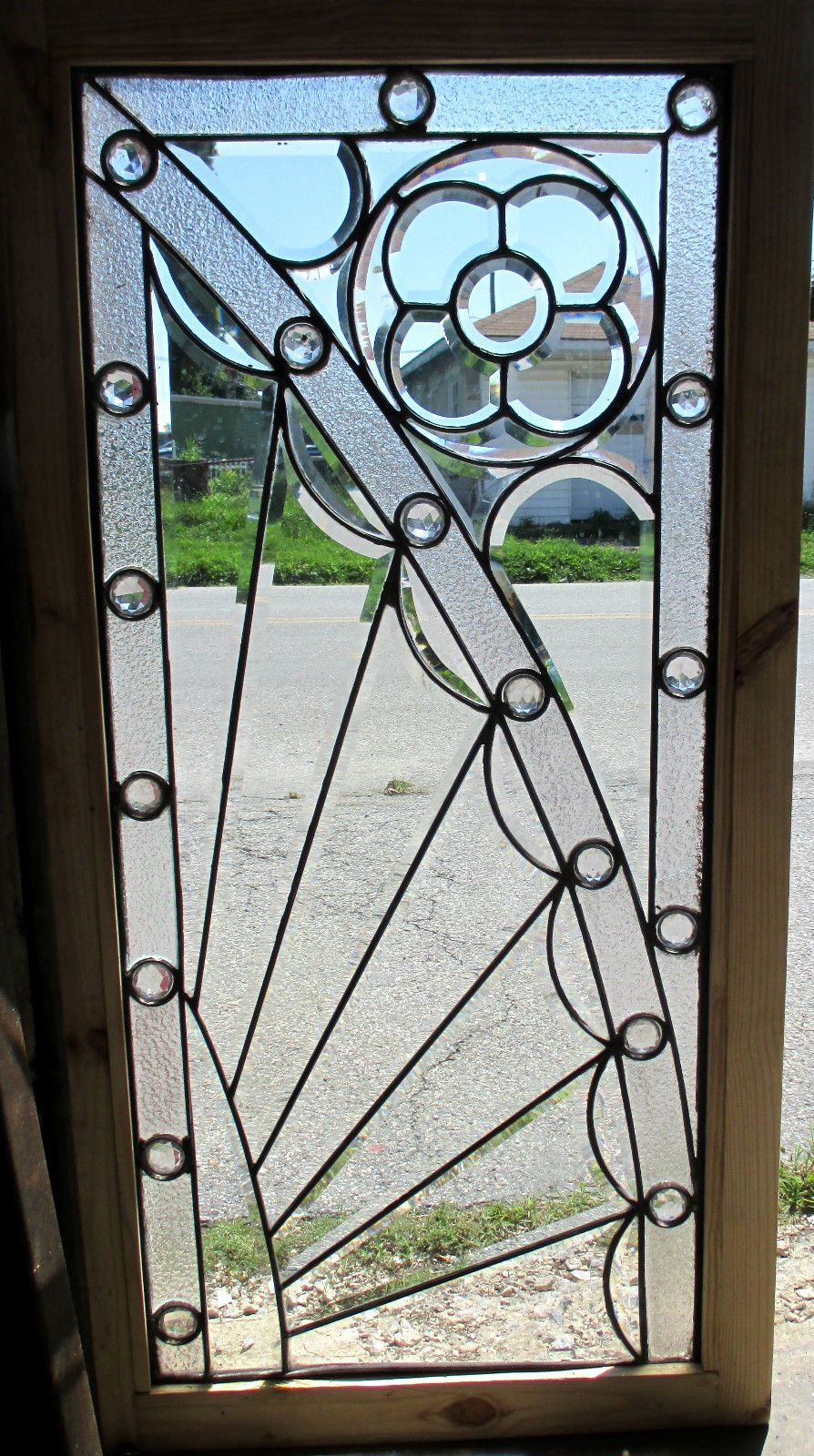 Antique American Stained Glass Window Mostly Beveled Jewles 24 x 48 Salvage | eBay