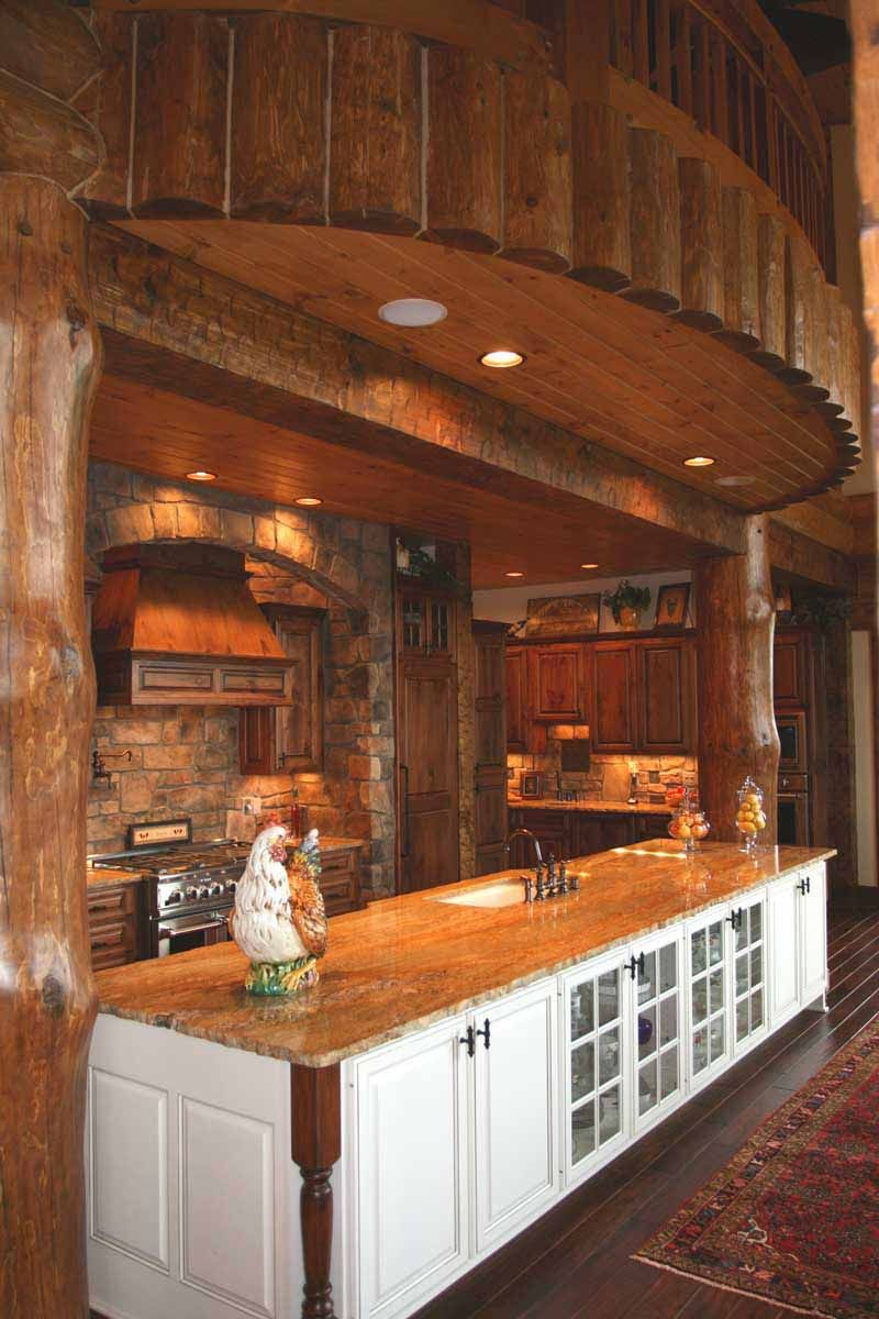 Love The Idea Of This Island Bar Not A Fan Of The White Though Log Home Kitchens Log Homes