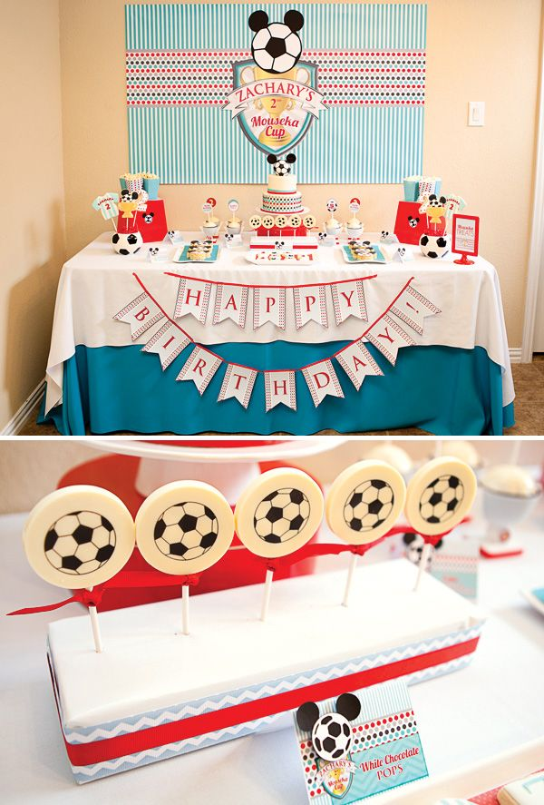 Blue Red Mickey Mouse Soccer Party Hostess With The Mostess Soccer Birthday Parties Soccer Party Mickey Birthday Party
