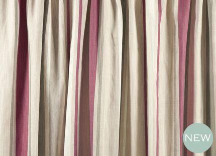 Awning Stripe Raspberry Cotton Pencil Pleat Ready Made