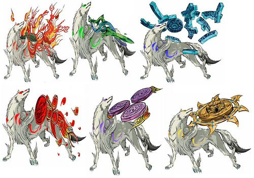 Okami All Color Cps Amaterasu Anime Wolf Game Art