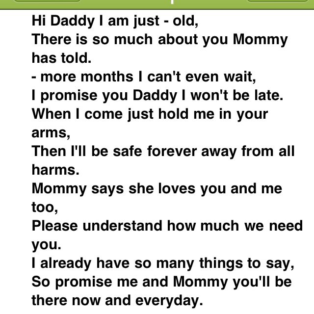 To daddy from a unborn baby  Awe | quotes | Baby
