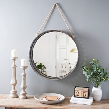 Product Details Galvanized Metal Rope Hanging Mirror In