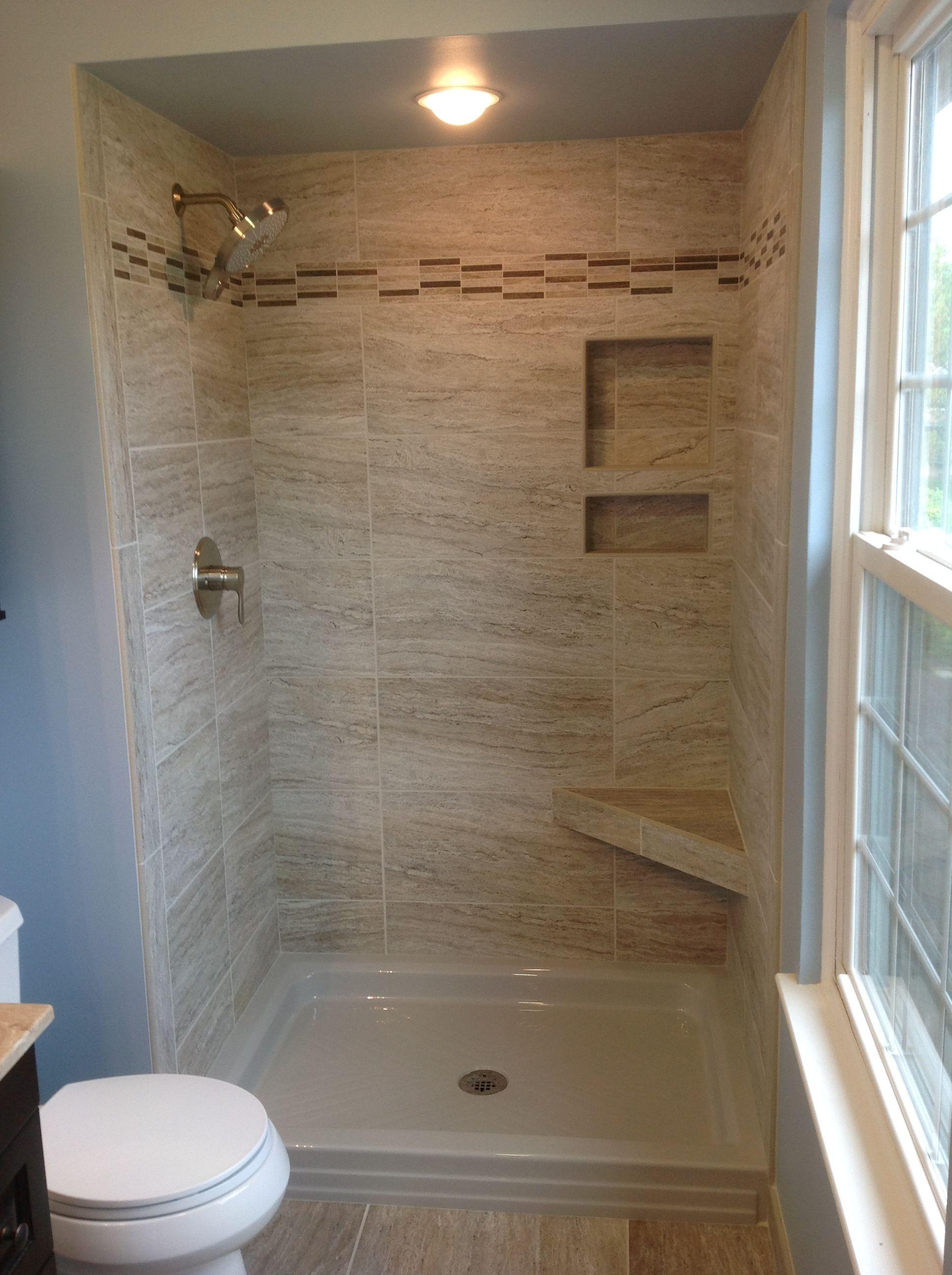"Marazzi Silk Elegant 12x24"" tiles in a 34x48"" shower space ..."