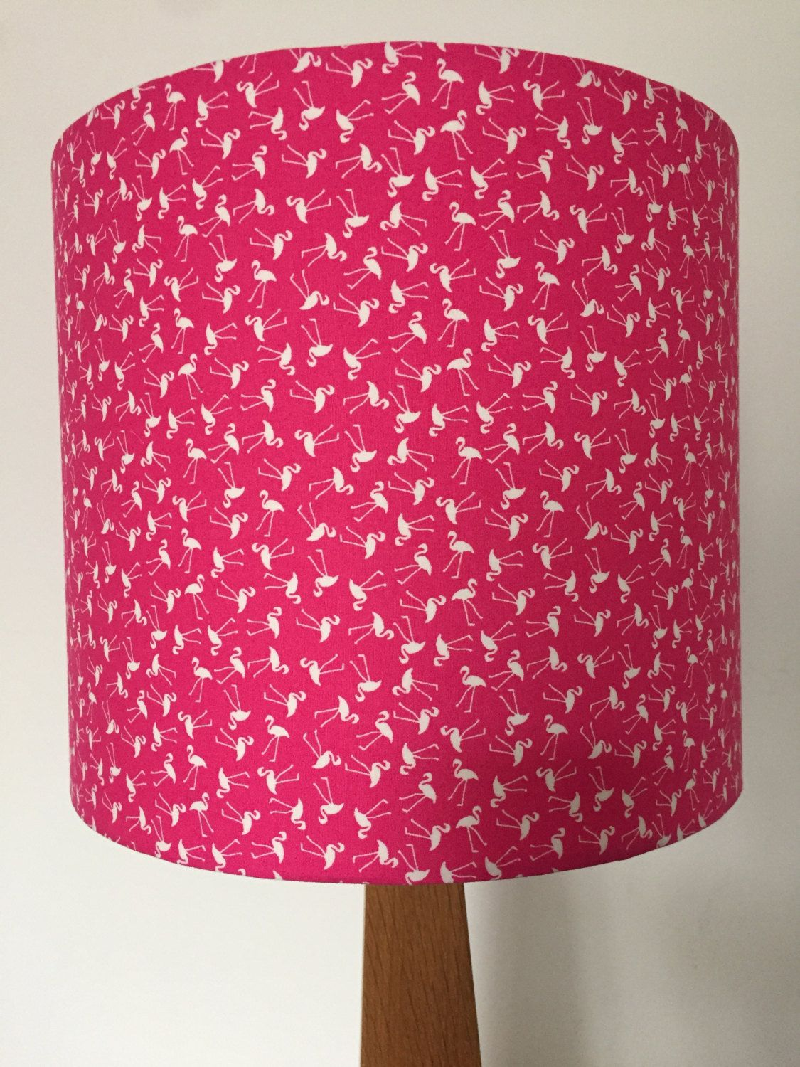 Bright Pink Lamp Shade With White Flamingo Print By Lightfromshade