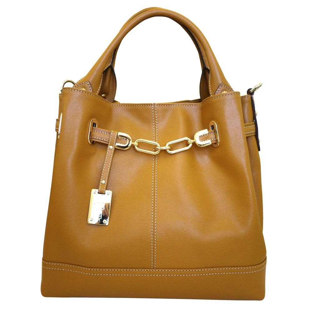 f1fb793064 Carbotti Designer Italian Gold Chain Leather Hobo Handbag - Tan
