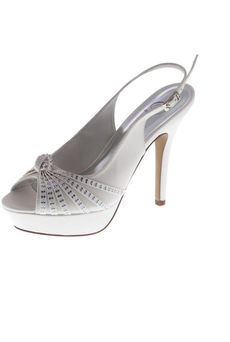 Chaussure semi-ouverte strass et noeud Femme pour Mariage