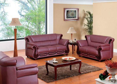 7981 Sofa Set Contemporary Leather Burgundy Modern Living Room Look Ebay Living Room Sets Living Room Leather Sectional Sofas Living Room