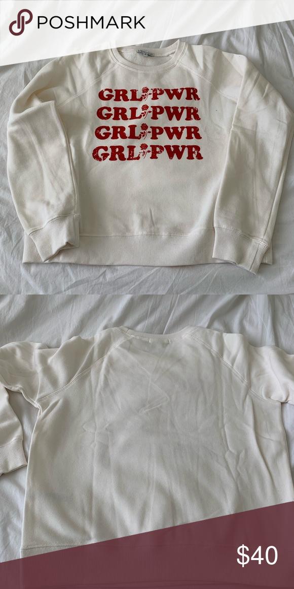 Rebecca Minkoff Girl Power Sweatshirt Long sleeved cream