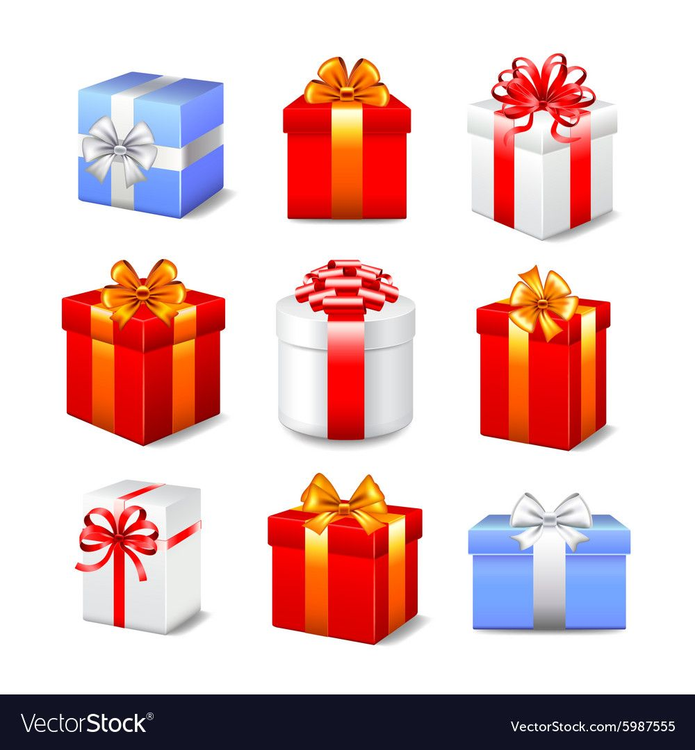 Gift Boxes Set Vector Image On Vectorstock In 2020 Gift Vector Gift Box Christmas Vectors