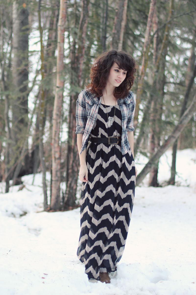 Flannel dress for women  flannel zigzag long dress belted flannel  Tres Chic  Pinterest